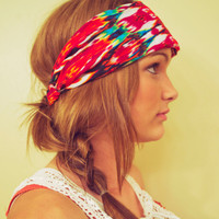 Expandable Headwrap-Fabric Five (Colorful Tribal Chevron)
