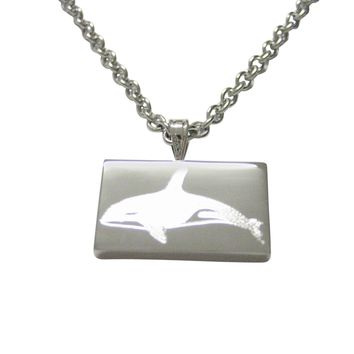 Silver Toned Etched Swimming Killer Whale Orca Pendant Necklace