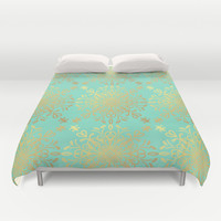 Elegance Golden Caramel Duvet Cover by Lisa Argyropoulos