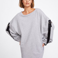 Contrast Strap Zipper Cuff Sweatshirt Dress -SheIn(Sheinside)