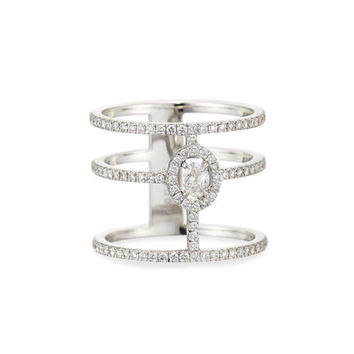 Messika Glamazone Three-Band Diamond Ring in 18K White Gold, Size 53