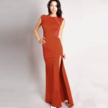Sleeveless Bodycon Slit Maxi Dress with Lace Accent