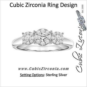 Cubic Zirconia Engagement Ring- The Jane (Round Cut Cluster)