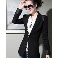 Black Clothing Women Autumn Apparel New Style Korean Style Slim One Button Fashion Long Sleeve Polyamide Coat S/M/L/XL @WH0431b $39.47 only in eFexcity.com.