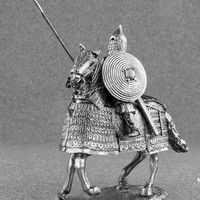 Miniature Figurine Horseman 1/32 Scale Heavy Mounted Mongolian Rider Golden Horde Unpainted Toy Soldier High Quality Tin Metal