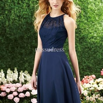 2016 Fast Shipping Dark Navy Halter Lace Top Knee Length Chiffon A-Line Bridesmaid Dress  O-Neck Party Dresses