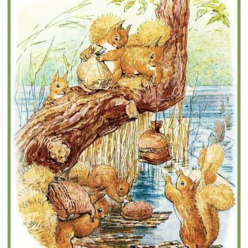 Squirrel Nutkin Friends Work Nuts inspired by Beatrix Potter Counted Cross Stitch or Counted Needlepoint Pattern