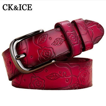 New 100% Genuine Leather Belt Women Jeans Female Belt Strap Fashion Leisure Belts For Women Pin Buckle Printing Flower Belts