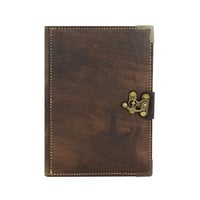 Leather Plain Pattern on a Brown Refillable Leather Journal / Notebook / Notepad / Diary / Sketchbook / Handmade / Book / Persian Paper