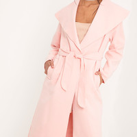 Veronica Pink Oversized Waterfall Belted Coat