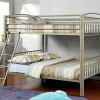 Furniture of america CM-BK1037F Lovia collection metallic gold finish full over full convertible bunk bed set with clean straight lines design