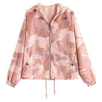 ZAN.STYLE Camo Print Zip Up Light Jacket Autumn Outwear Pink Drawstring Casual Loose Women Coats Windbreaker Harajuku Jackets