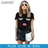 Z&KOZE Plus Size 5XL Eyelashes Red Lips Printed Women T Shirt Loose Female Summer Tee Tops Short Sleeve White Women Tshirts