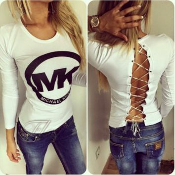 MK Fashion Hollow Printed long sleeve T-shirt