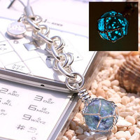 Okinawa Chura Stone Glow-in-the-dark Jewelry Amulet Strap String Japanese Cellphone Charm  Stone Jewelry (Blue / December)- 188-CHURA-PL-12