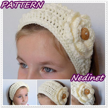 Crochet Headband Ear Warmer with Flower Woman Teen PATTERN