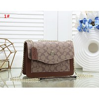 Coach New fashion pattern leather chain shoulder bag women 1#