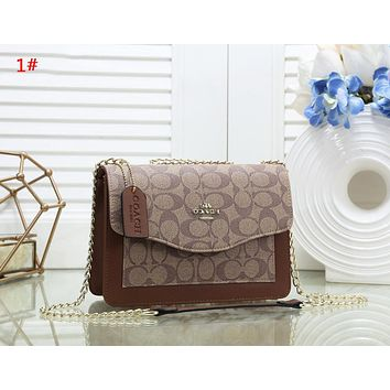 Coach Fashion New Pattern Leather Chain Shopping Leisure Shoulder Bag Women 1#