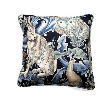 William Morris Forest, Arts and Crafts, blue, green, beige, rabbit and peacock linen union cushion, throw pillow, home decor 18 x 18 ins.
