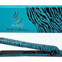 "Bebella Luxury Wild Collection: Professional 1.25"" Pure Onyx Ceramic Plates Hair Straightener Flat Iron (Teal Zebra)"