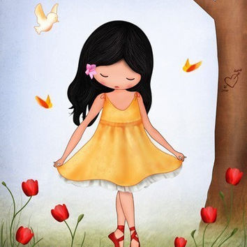 Art for girls room, kids wall art, Nursery art, children's room decor girl dancing in the garden butterflies and poppies, nursery art prints