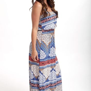 Blue Aztec Printed Maxi Dress