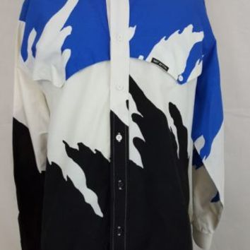 Mo Betta Country Western Banded Collar Garth Brooks Blue Splash Shirt 18 x 36