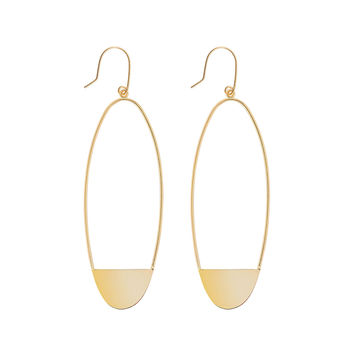 14k Small Linear Eclipse Earrings - Lana