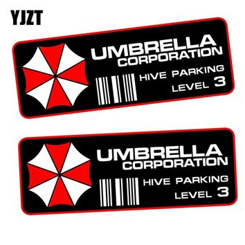 YJZT 15x5.7CM 2X UMBRELLA Hive Parking Level 3 Resident Evil Retro-reflective Decal PAIR Fashion Car Sticker C1-8002