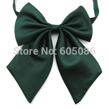 solid color dark green neck tie for women butterfly