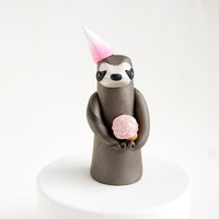 Sloth Birthday Cake Topper by Bonjour Poupette