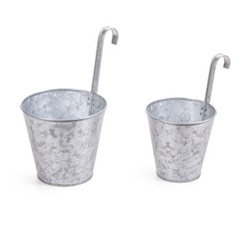 "Set of 2 Galvanized Metal Outdoor Planters - 5-5.5"" Tall x 3.75-4.5"" Wide"