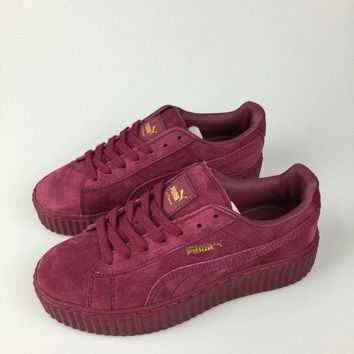 Mens Womens Puma Fenty by Rihanna Creepers Burgundy Suede Shoes