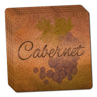Cabernet Grapes - Wine Vine Drinking Thin Cork Coaster Set of 4
