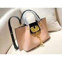 Valentino stylish ladies solid color metal button shoulder bag hot seller shopping bag