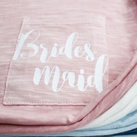 Bridesmaid Pocket T-Shirt - Script