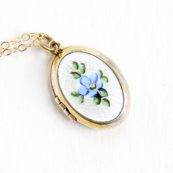 Vintage Gold Filled Enamel Guilloche Flower Locket Necklace - 1940s Late Art Deco Small Oval Pendant Floral Jewelry