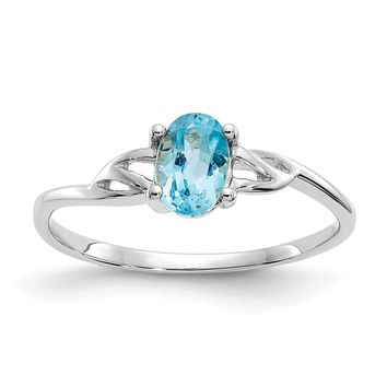 10K White Gold Polished Geniune Blue Topaz Birthstone Ring