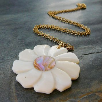 Pendant Necklace, 14kt Gold Filled, 16 inch, MOP Flower
