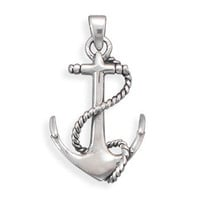 Oxidized Sterling Silver Anchor Pendant  - Nautical Jewerly -  Wooden Ship Models, Nautical Decor & Gifts - GoNautical