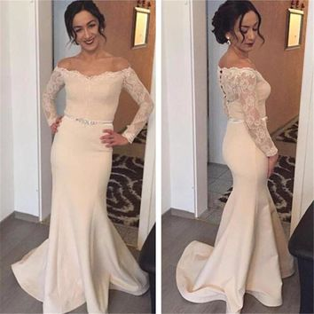 Promotion 2017 Mermaid Cheap Maid of Honer V-Neck Long Sleeve Appliques Lace Floor Length Long Bridesmaid Dress for women