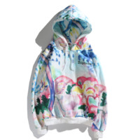 Supreme New fashion bust letter print colorful painting print couple hooded long sleeve sweater
