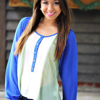 Love Your Tone Top: Royal/Mint | Hope's