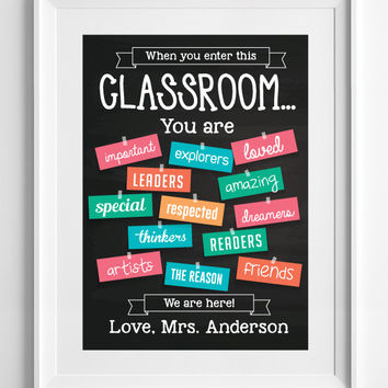 Classroom Decor, classroom poster, teacher decor, classroom sign, clhalkboard, custom classroom decor, gift for teacher, ALL SIZES, A3