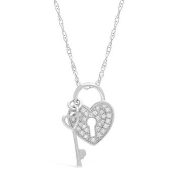 .15 cttw Diamond Heart Lock & Key Sterling Silver Necklace 18""