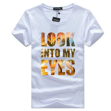 LOOK INTO MY EYES NEW 2018 Beach Fashion  Printed Men T shirt Short Sleeve Casual t-shirt Hipster Fractal Pattern tees Cool Tops