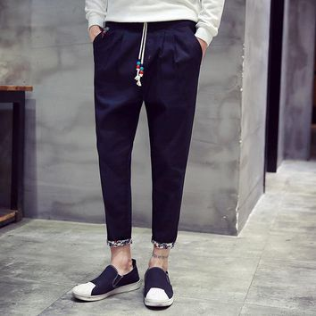 ZEESHANT XXXL Fall Fashion Korean Slim Linen Pants Drawstring Men Trousers Casual    Men Active Pants in Men's Casual Pants