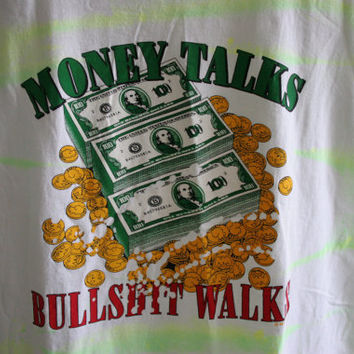 Vintage 90s Money Talks graphic tee cash money tye dye neon t shirt
