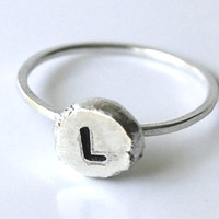 Sterling Silver Ring Stamped with Any Letter or Number -- Small, Thin Faceted Band