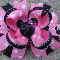 Minnie Mouse Hair BowLarge Hair bow  Pink and by MyLuckyHairBow